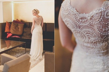 Wedding dress with embroidered lace and chiffon. Design by Lilli Norio Sewing by Me Pic by René Garmider
