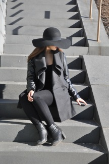Glamourous look with edgy jacket.