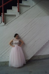 Prom dress with tulle and lace.