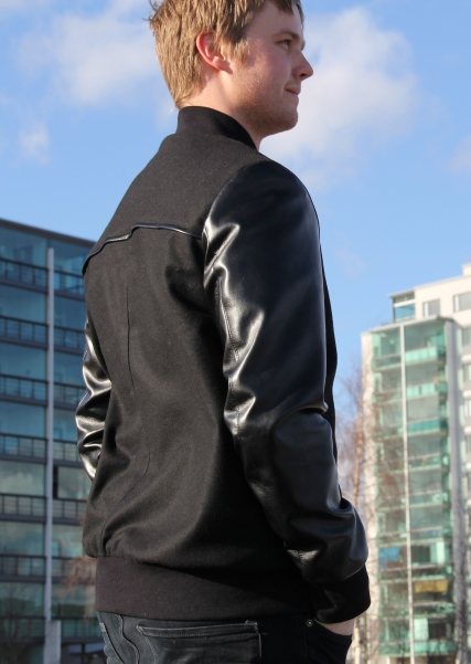 Men's bomber with faux leather sleeves
