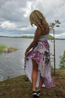 Printed silk chiffon skirt.